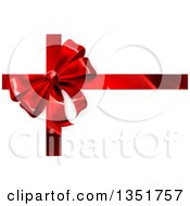 Clipart Of A 3d Red Christmas Birthday Or Other Holiday Gift Bow And Ribbon On Shaded White Royalty Free Vector Illustration