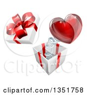 Clipart Of A 3d Gift Box With A Red Heart Springing Out Royalty Free Vector Illustration