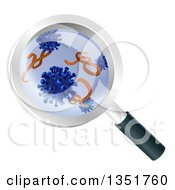 Magnifying Glass Zoomed Over Germs And Viruses
