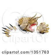 Clipart Of A 3d Roaring Angry Triceratops Dinosaur Shredding Through A Wall 2 Royalty Free Vector Illustration by AtStockIllustration