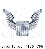 Clipart Of A Shiny Winged Silver Metal United States Flag Shield Royalty Free Vector Illustration by AtStockIllustration