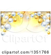 Clipart Of A Christmas Background With A 3d Arch Of Bauble Ornaments Over Golden Magic Lights And Flares Royalty Free Vector Illustration