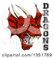 Clipart Of A Roaring Red Horned Dragon Mascot Face With Text Royalty Free Vector Illustration
