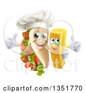 Clipart Of A Cartoon Souvlaki Kebab Sandwich Chef Mascot And French Fry Character Giving Thumbs Up Royalty Free Vector Illustration