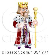 Clipart Of A Happy Caucasian King Holding A Staff And Pointing To The Right Royalty Free Vector Illustration by AtStockIllustration