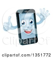 Clipart Of A Cartoon Happy Cell Phone Character Waving And Giving A Thumb Up Royalty Free Vector Illustration