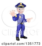 Clipart Of A Cartoon Happy Caucasian Male Police Officer Waving And Pointing Royalty Free Vector Illustration