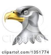 Clipart Of A Shiny Silver Bald Eagle Head Royalty Free Vector Illustration