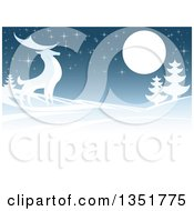 Clipart Of A Winger Background Of A Majestic Buck Deer In A Hilly Winter Landscape Under A Full Moon At Night Royalty Free Vector Illustration by AtStockIllustration