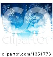 Christmas Background Of Snowflakes Falling Down Over White Evergreen Winter Trees In Blue Tones