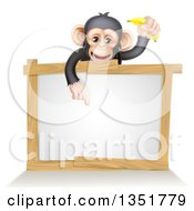 Cartoon Black And Tan Happy Baby Chimpanzee Monkey Holding A Banana And Pointing Down Over A Blank White Sign Framed In Wood
