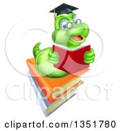 Clipart Of A Happy Green Professor Or Graduate Earthworm Reading On Books Royalty Free Vector Illustration by AtStockIllustration