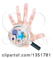 Clipart Of A Caucasian Antibacterial Hand With Germs A Shield And Magnifying Glass Royalty Free Vector Illustration
