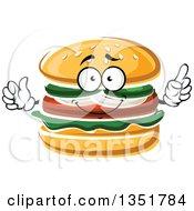 Clipart Of A Cartoon Hamburger Character Royalty Free Vector Illustration