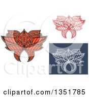 Clipart Of Beautiful Ornate Orange Tan White On Blue And Colored Henna Lotus Flowers Royalty Free Vector Illustration