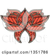 Clipart Of A Beautiful Ornate Orange And Tan Henna Lotus Flower Royalty Free Vector Illustration