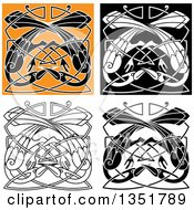 Clipart Of Celtic Knot Crane Or Heron Designs 6 Royalty Free Vector Illustration