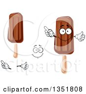 Clipart Of A Cartoon Face Hands And Fudge Popsicles 2 Royalty Free Vector Illustration