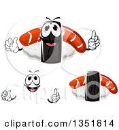 Clipart Of A Cartoon Face Hands And Nigiri Sushi With Smoked Salmon Royalty Free Vector Illustration