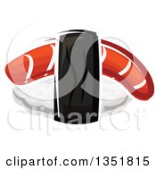 Clipart Of A Cartoon Nigiri Sushi With Smoked Salmon Royalty Free Vector Illustration