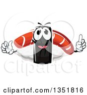 Clipart Of A Cartoon Nigiri Sushi With Smoked Salmon Character Royalty Free Vector Illustration