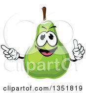 Clipart Of A Cartoon Green Pear Character Holding Up A Finger And Pointing Royalty Free Vector Illustration