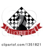 Clipart Of A Chess Knight Horse Head Piece Over A Checker Board And Red Text Ribbon Banner Royalty Free Vector Illustration