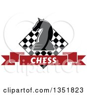 Clipart Of A Chess Knight Horse Piece Over A Checker Board And Red Text Ribbon Banner Royalty Free Vector Illustration by Vector Tradition SM