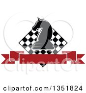 Clipart Of A Chess Knight Piece Over A Checker Board And Blank Red Ribbon Banner Royalty Free Vector Illustration by Vector Tradition SM