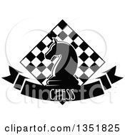 Clipart Of A Black And White Chess Knight Horse Head Piece Over A Checker Board And Text Ribbon Banner Royalty Free Vector Illustration by Vector Tradition SM