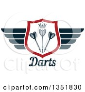 Clipart Of A Winged Shield With A Crown And Throwing Darts Over Text Royalty Free Vector Illustration