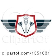 Clipart Of A Winged Shield With A Crown And Throwing Darts Royalty Free Vector Illustration
