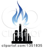 Clipart Of A Black And Blue Silhouetted Natural Gas And Flame Design 3 Royalty Free Vector Illustration
