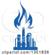 Clipart Of A Silhouetted Blue Natural Gas And Flame Factory 10 Royalty Free Vector Illustration