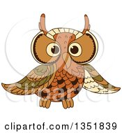 Clipart Of A Cute Brown Owl 2 Royalty Free Vector Illustration by Vector Tradition SM