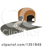 Clipart Of A Highway Road Leading To A Tunnel Royalty Free Vector Illustration