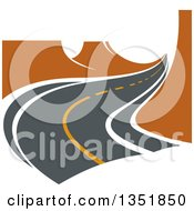 Clipart Of A Curvy Two Lane Road With Canyon Cliffs Royalty Free Vector Illustration by Vector Tradition SM