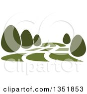 Clipart Of A Park With Green Shrubs Royalty Free Vector Illustration by Seamartini Graphics