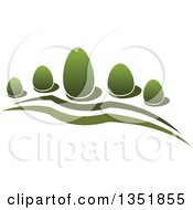 Clipart Of A Park With Green Shrubs 2 Royalty Free Vector Illustration by Vector Tradition SM