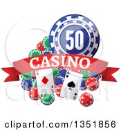 Clipart Of Poker Chips And Playing Cards With A Red Casino Text Banner Royalty Free Vector Illustration