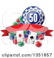 Clipart Of Poker Chips And Playing Cards With A Red Blank Banner Royalty Free Vector Illustration by Vector Tradition SM