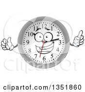 Clipart Of A Cartoon Silver Framed Wall Clock Character Royalty Free Vector Illustration by Vector Tradition SM