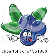 Clipart Of A Cartoon Goofy Blueberries Character Pointing Royalty Free Vector Illustration