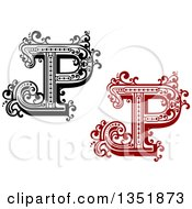 Clipart Of Retro Black And White And Red Capital Letter P With Flourishes Royalty Free Vector Illustration