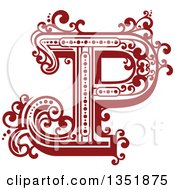 Clipart Of A Retro Red And White Capital Letter P With Flourishes Royalty Free Vector Illustration