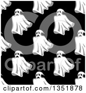 Clipart Of A Seamless Pattern Background Of Ghosts On Black 5 Royalty Free Vector Illustration by Vector Tradition SM