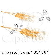 Clipart Of A Cartoon Face Hands And Golden Wheat Royalty Free Vector Illustration