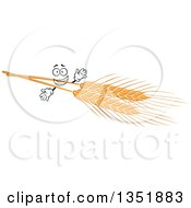 Clipart Of A Golden Wheat Character Royalty Free Vector Illustration