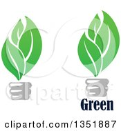 Clipart Of Green Leaf Light Bulbs And Text Royalty Free Vector Illustration