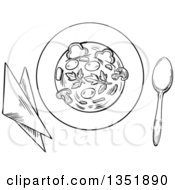 Clipart Of A Black And White Sketched Bowl Of Vegetable Soup With Napkins And A Spoon Royalty Free Vector Illustration